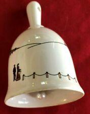 "White Village Scene 3 3/4"" Ceramic Bell Figurine"