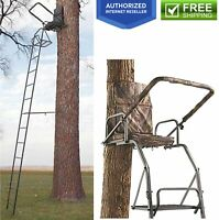 16' Deer Elk Game Hunting Ladder Tree Bow Stand Comfort Flip Up Chair Seat Gun