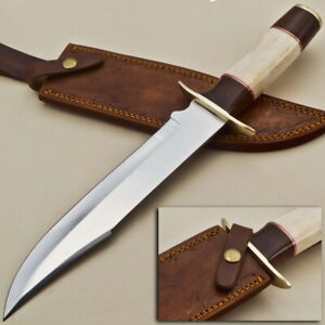 Custom Stainless Steel Clip Point Bowie Hunting Knife EE66 With Brass Guard