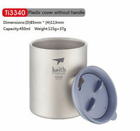 Keith 450ml Titanium Cup Camping Mug Picnic Hiking Titanium Double-wall Mug