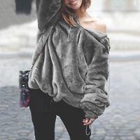 Women's Long Sleeve Sweater Loose Hoodie Sweatshirt Jumper Tops Blouse Grey