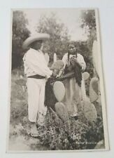Real Photo Postcard of Two Mexicans w Cactus -Tipos Mexicanos Fabrica De Tarjeta
