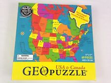 GEOToys USA Canada Geo Puzzle 69 Pieces Geography Map 17in x 17in Jigsaw Used