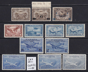 Canada 1928-46  Lot of Unused Air Mail Stamps HICV  (MH/MNG)