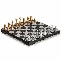 Magnetic Travel Chess Set Table Game Magnet Board Beautiful Silver Gold Pieces