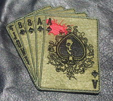 DEAD MAN'S HAND ACES SKULL OUTLAW IRON ON MC BIKER PATCH
