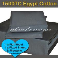 King-Egyptian Cotton 1500TC Fitted Flat Pillowcases Sheet Set-Black RRP $660