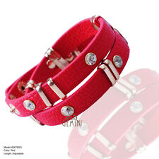 Men Women Brown Leather Double Wrap Cuff Wristband Bracelet MKUS078BW