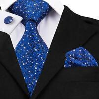 USA Classic Oxford Blue White Mens Tie Floral Printing Silk Necktie Jacquard Lot