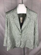 NWOT Womens 16 Petite Jacket Blazer Talbots Green Floral Design (AK)