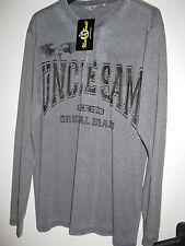Uncle Sam Herren Shirt mit Muster,Gr.M-Grau,Baumwollmischung,neu mit Etikett