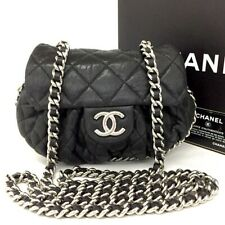 CHANEL Quilted Silver Hardware Chain Around Crinkled Leather Shoulder Bag /eeEFF