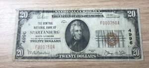 Spartanburg South Carolina , central  national bank , 1929 , $20  F/ VF