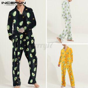 Mens Womens Pyjamas Pant&Shirt Long Sleeved Print Nightwear Loose Fit Sleepwear