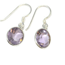 NJ Sterling Silver and Cut Surface Amethyst Drop Earrings