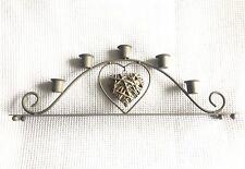 Parlane Candlestick Holder - Grey Wicker Heart - Home Mantelpiece Winter Decor
