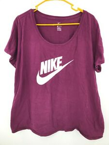Nike Shirt Womens 2XL XXL Burgundy Short Sleeve Tee Ladies Active Workout