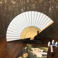 50 pcs/lot White Folding Elegant Paper Hand Fan Wedding Party Favors 21cm(w U2J4