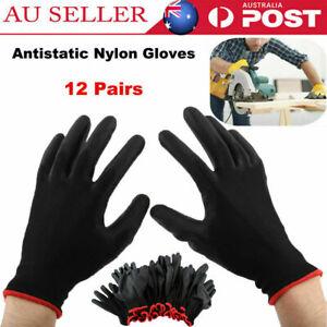 12Pair Antistatic Nylon Gloves Safety Work Mechanic Workers Garden Builder Glove