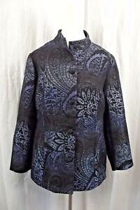 Chico's Womens Jacket Sz 2 12 Large L Blazer Coat Blue Black Metallic Suit L/S