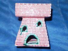 New listing Vtg Pink Temple Swim Thru Ceramic Aquarium Ornament Japan Unused Nm