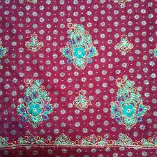 Sandeep Purple Teal Gilt Embroidered Rayon  Print Panel 2 Yard  Sewing Fabric