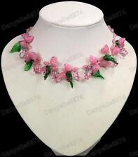 BIRDS&LEAVES blossoms PINK murano GLASS BEAD NECKLACE vintage beads bird&leaf