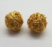 2 Pieces Round Bali Beads Gold Plated 925 Sterling Silver 11mm Nest Ball Beads