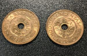 1957 & 1958 British Africa Rhodesia & Nyasaland 1/2 Penny BU FULL RED
