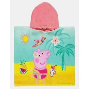 Ex matalan girls Peppa Pig Hooded Towel Poncho  Summer Kids Childrens Character