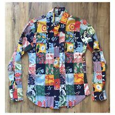 New listing Womens Shirt 70s Patchwork Vtg Button Up Cotton Boho Marimekko esque Top 60s