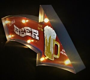 Large Beer 3D LED Tin Sign with Remote