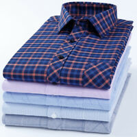 Mens Dress Shirts Long Sleeves Business Work Formal Plaids Check Multicolor 6535