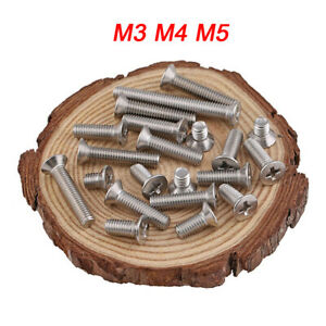 M3 M4 M5 304 Stainless Steel Phillips Flat Wafer Head Screw Bolt Wood Screws 50X
