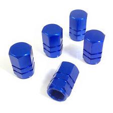 5 Premium Blue Aluminum Tire/Wheel Air Stem Valve Caps for car-truck-hot rod