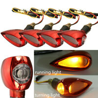 4pcs 12V LED Ambre Turn Signal Clignotant Indicateur Éclairage Balle rouge Moto