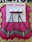 Betsey Johnson Halloween Release Bat Silver Glitter Crystal AB Pewter Earrings