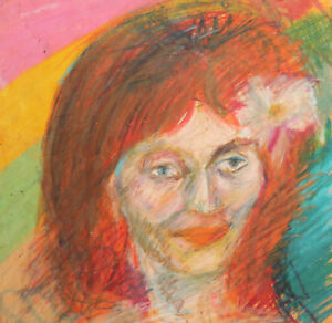 Vintage pastel painting expressionist woman portrait