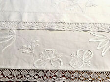 VINTAGE HAND EMBROIDERED WHITE LINEN MONOGRAMMED AS NIGHTDRESS CASE CUSHIONCOVER