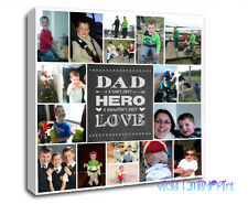"LOVELY 20""x20"" COLLAGE CANVAS PERSONALISED PHOTO GIFT BIRTHDAY FATHERS DAY QUOTE"