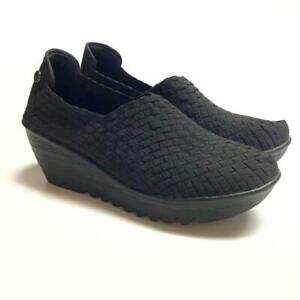 Bernie Mev Gem Womens 40 Stretch Woven Wedge Pumps Shoes Black Synthetic Slip On