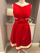 Dorothy Perkins Red Gold Fit & Flare Skater Dress Size 12 Swing Dress
