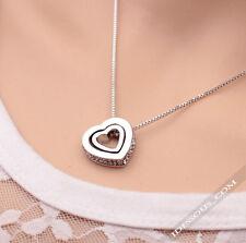 Halskette mit Herz Anhänger Silber Diamant mit Zirkon Steine Damen Collier lang