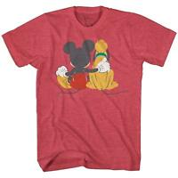 Disneyland World Mickey Pluto Best Funny Friends Adult Men's Graphic T-Shirt Tee