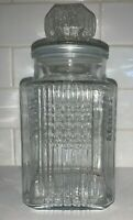 """Vintage Koeze's Clear Glass Canister Apothecary Cookie Jar 9.5"""" Tall Waffle"""