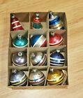 VTG Premier Glass Works 12 CHRISTMAS Ornaments Original Box Stripes Shiny Brite