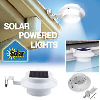 Solar Powered 3 LED Fence Gutter Light Outdoor Garden Yard Wall Pathway Lamp New