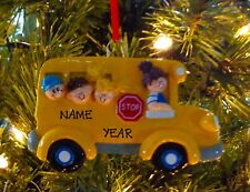 School Bus Kids First Personalized Christmas Tree Ornament