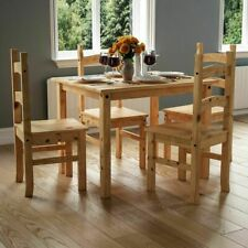 Amazing 4 Seater solid wood Dining Set Chairs Table Solid Waxed Pine Finish New