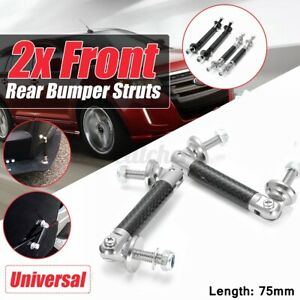 2x Car 75mm Protector Lip Splitter Diffuser Strut Rod Tie Bars Carbon Fiber